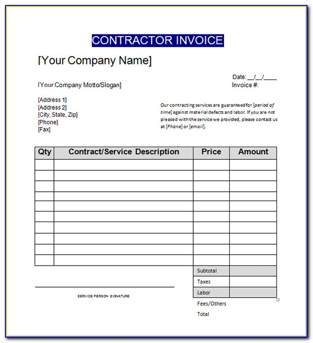 Contractor Invoice Format In Gst