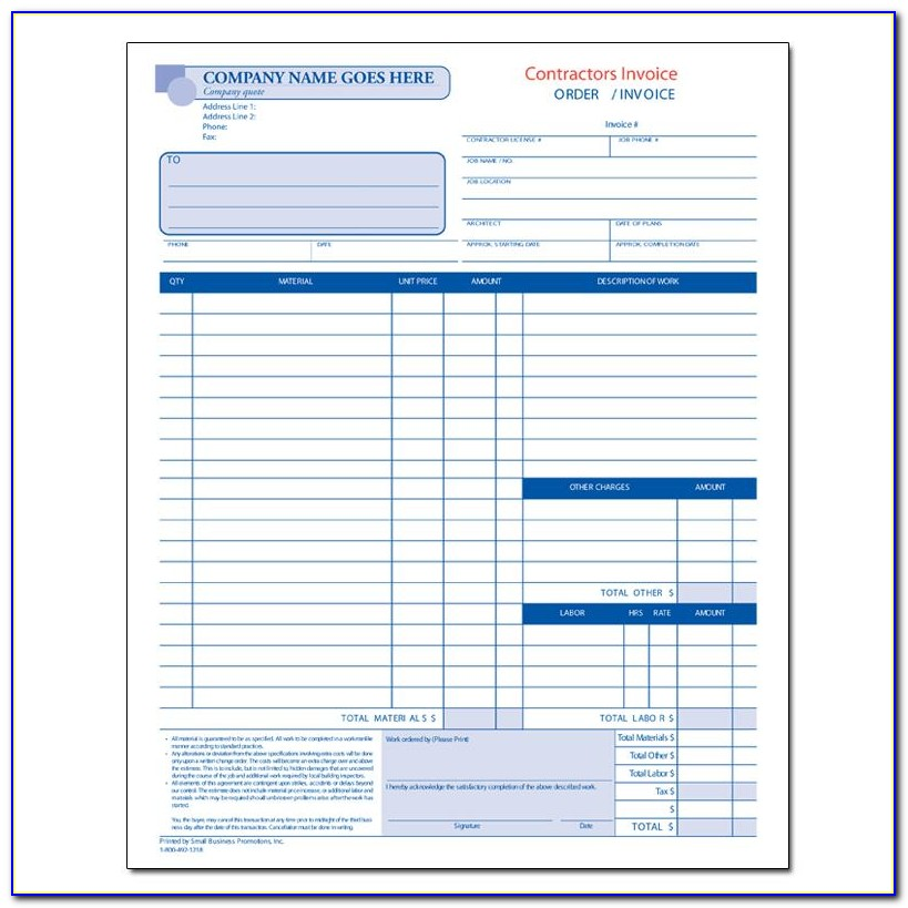 Contractor Invoice Forms Free