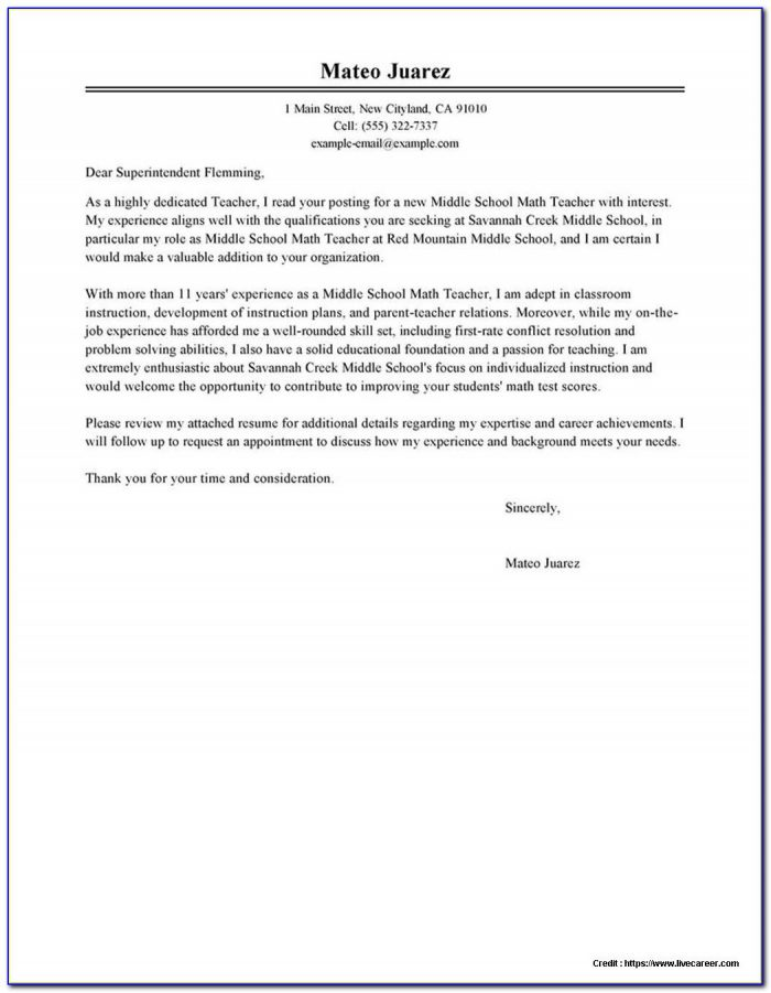 Cover Letter Examples For Resume Free Online