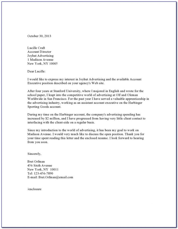 Cover Letter Sample For Job Free