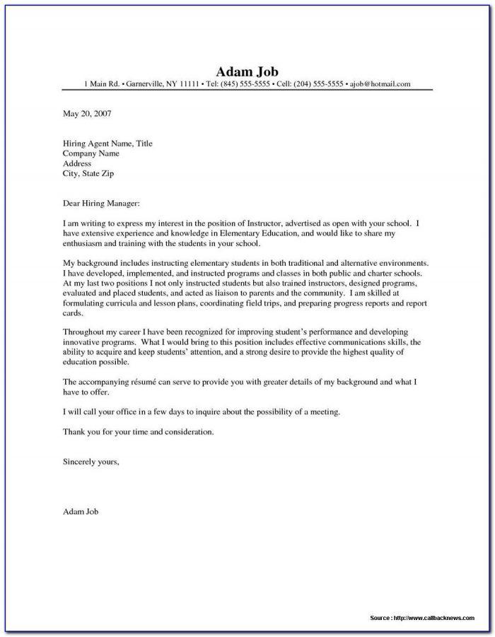 Cover Letter Sample For Resume Pdf
