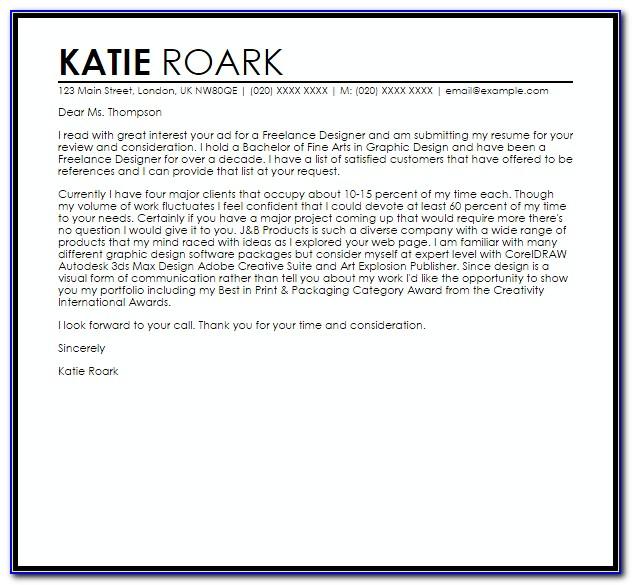 Cover Letter Sample Freelance Writing