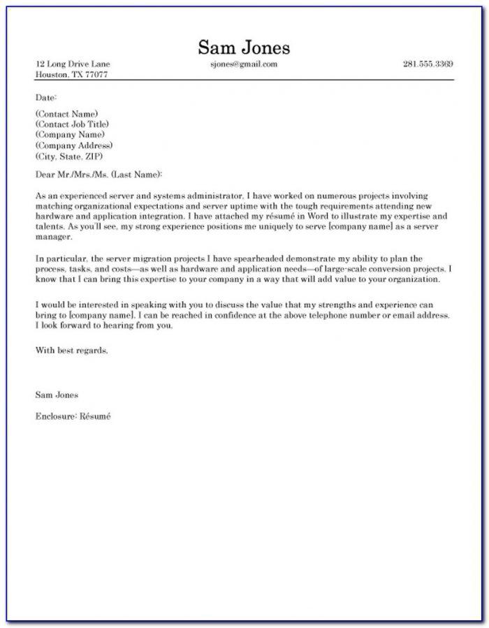 Cover Letter Samples For Resume It Jobs