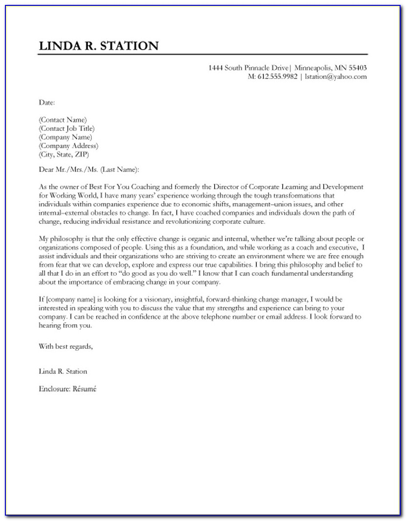 Cover Letter Templates For Resumes Free