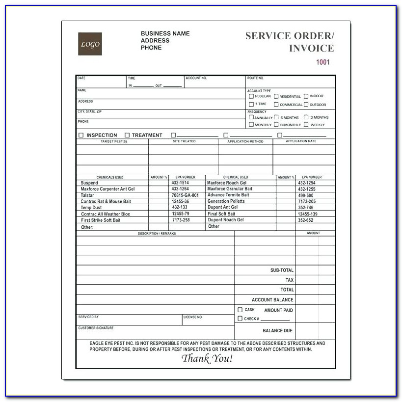 Custom Carbonless Invoice Forms