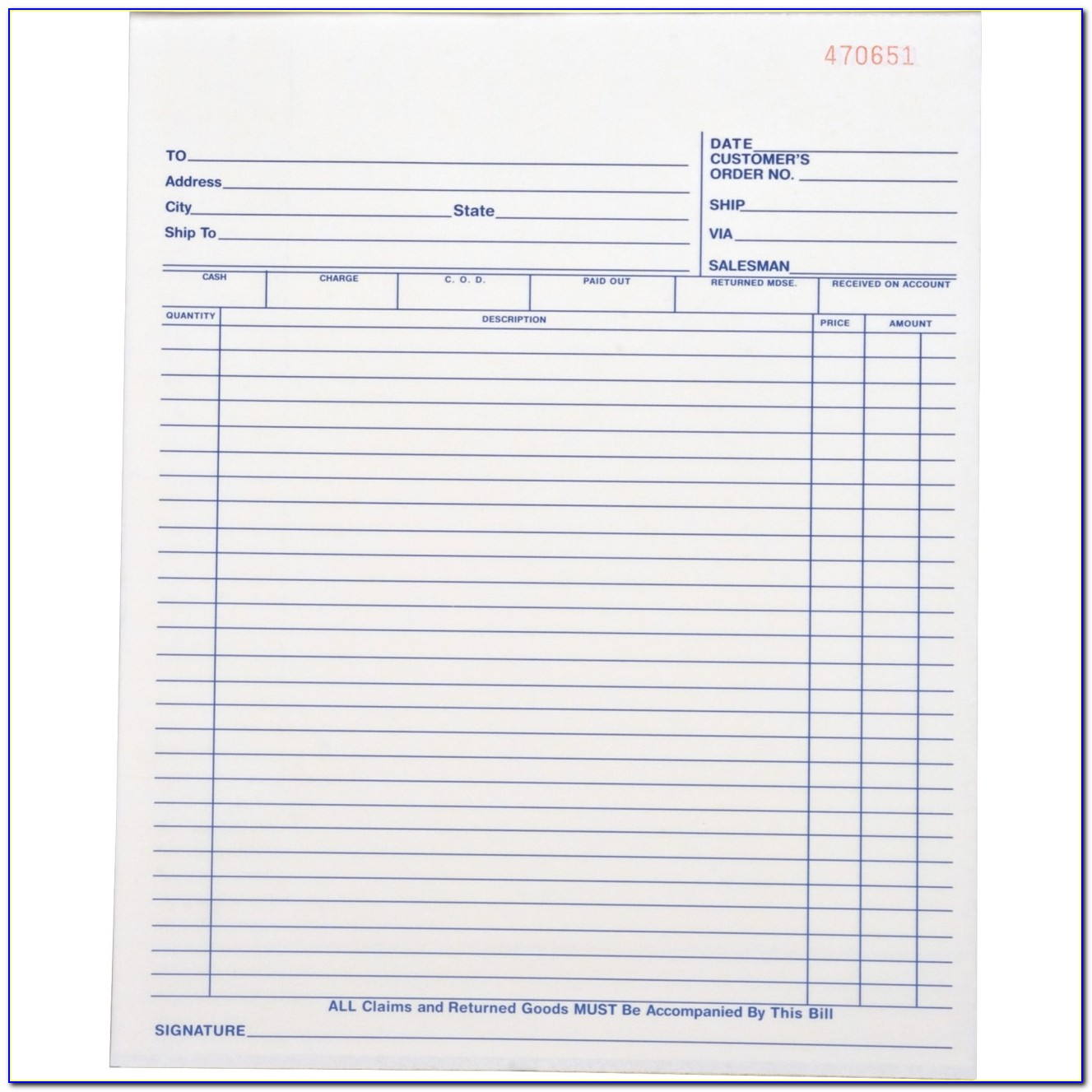 Custom Carbonless Receipt Forms