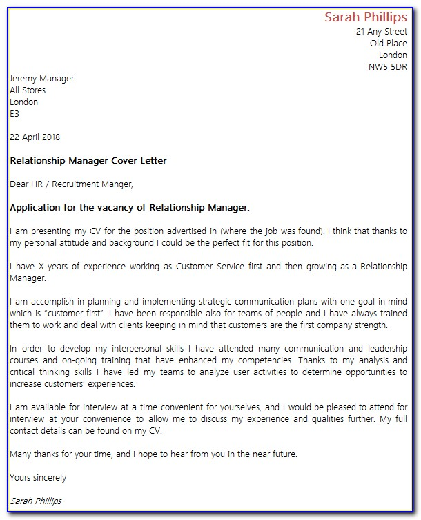 Customer Relationship Manager Cover Letter