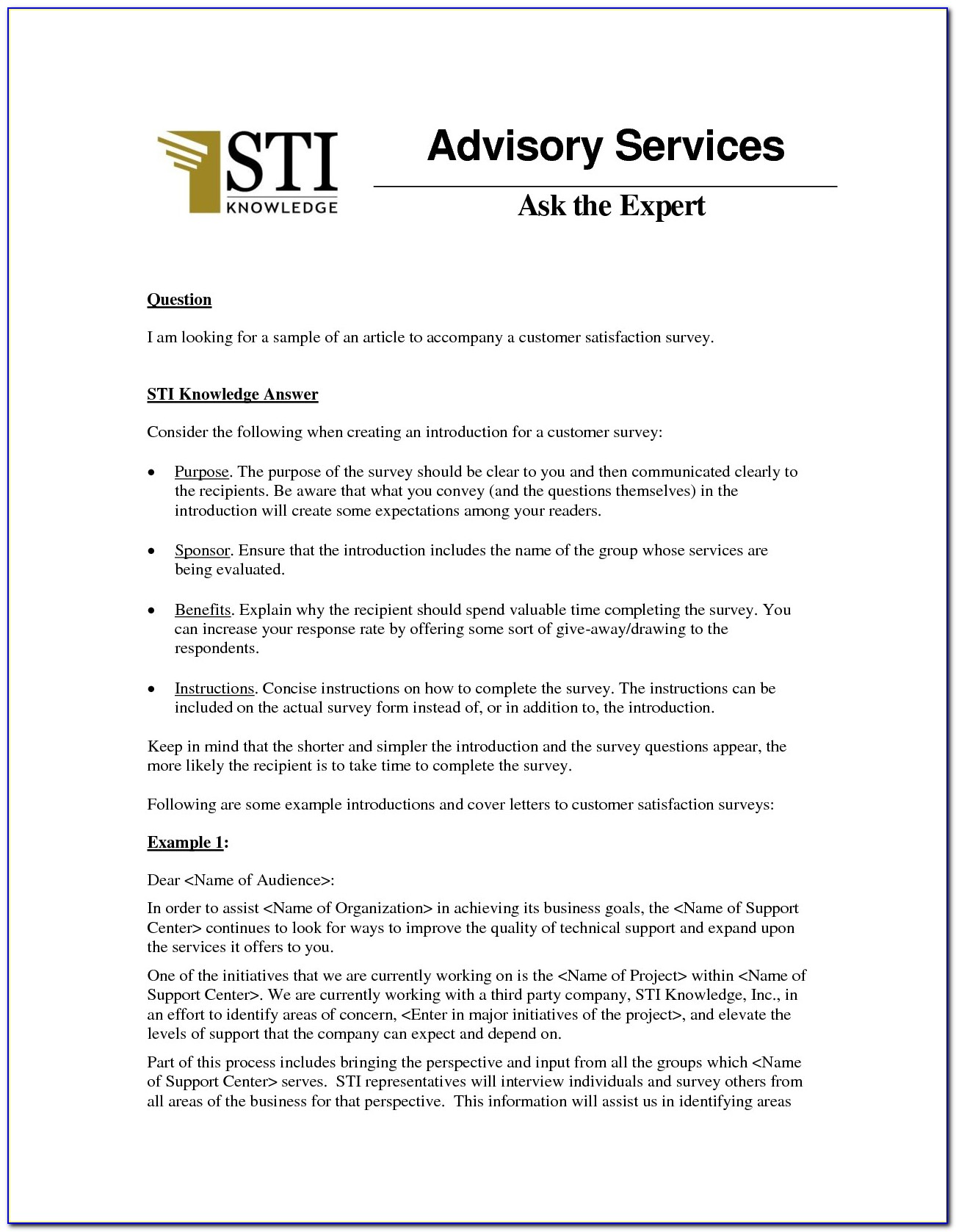 Customer Satisfaction Survey Cover Letter Sample