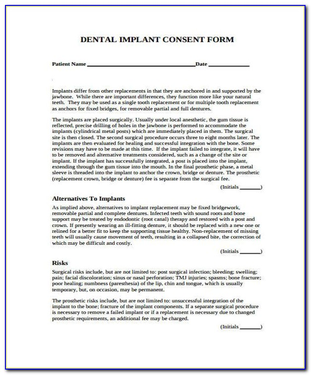 Dental Implant Consent Form Spanish