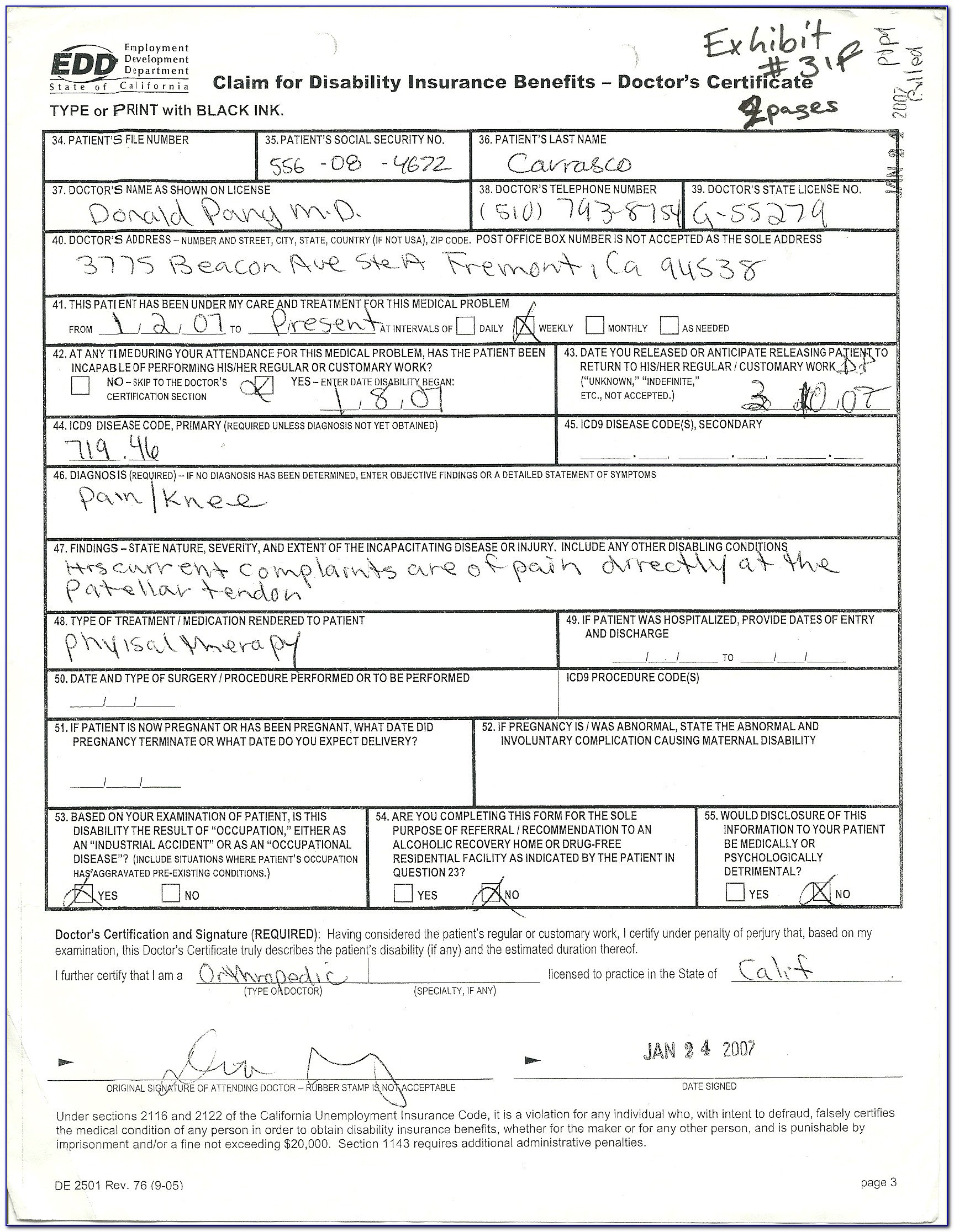 Disability Tax Form For Doctor To Fill Out