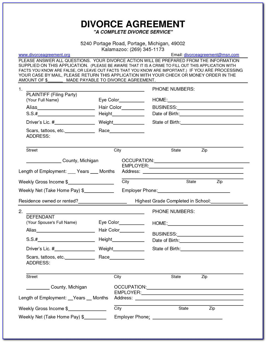 Divorce Paperwork Florida