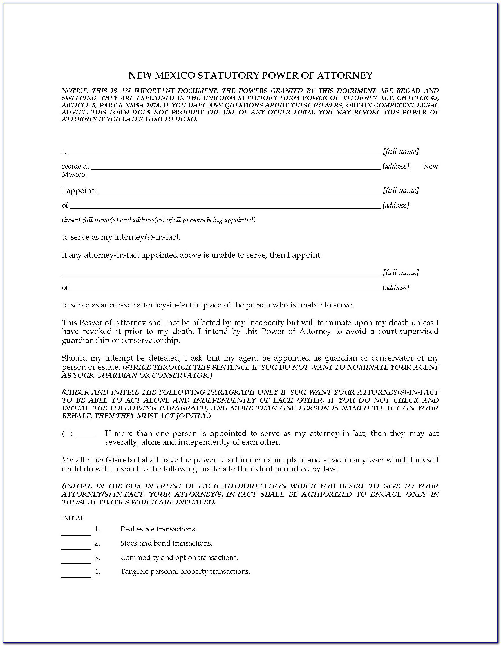 Power Of Attorney Form New Mexico Dmv