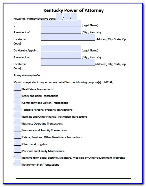 Durable Power Of Attorney Forms Florida