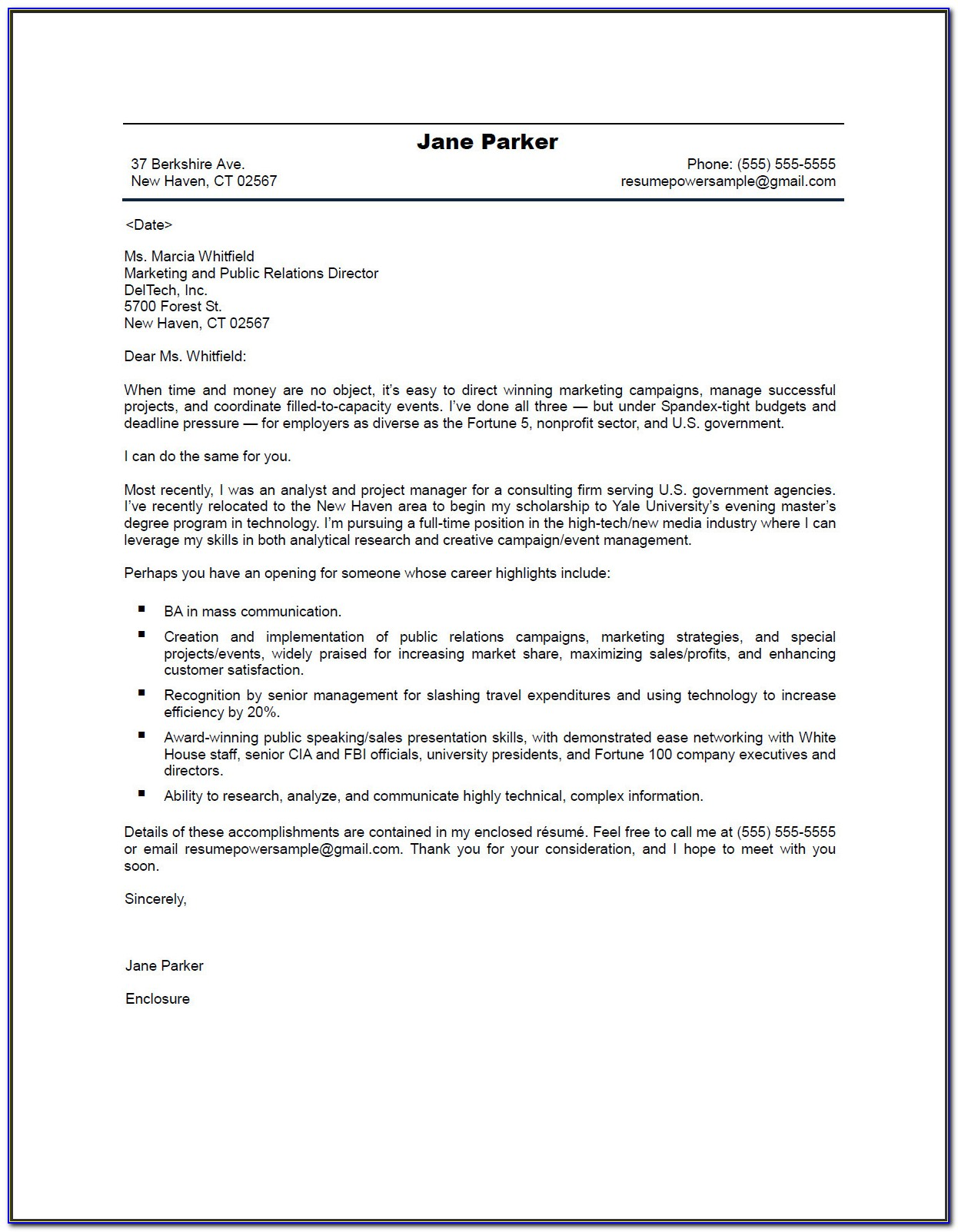 Effective Resume Cover Letters Examples