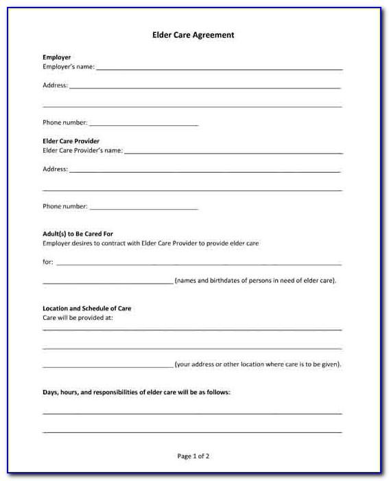 Elder Care Agreement Form 85 Pdf