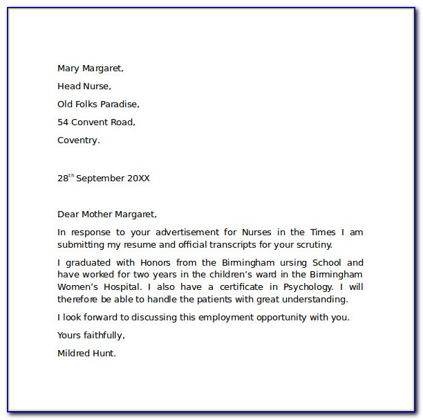 Employment Cover Letter Samples Free
