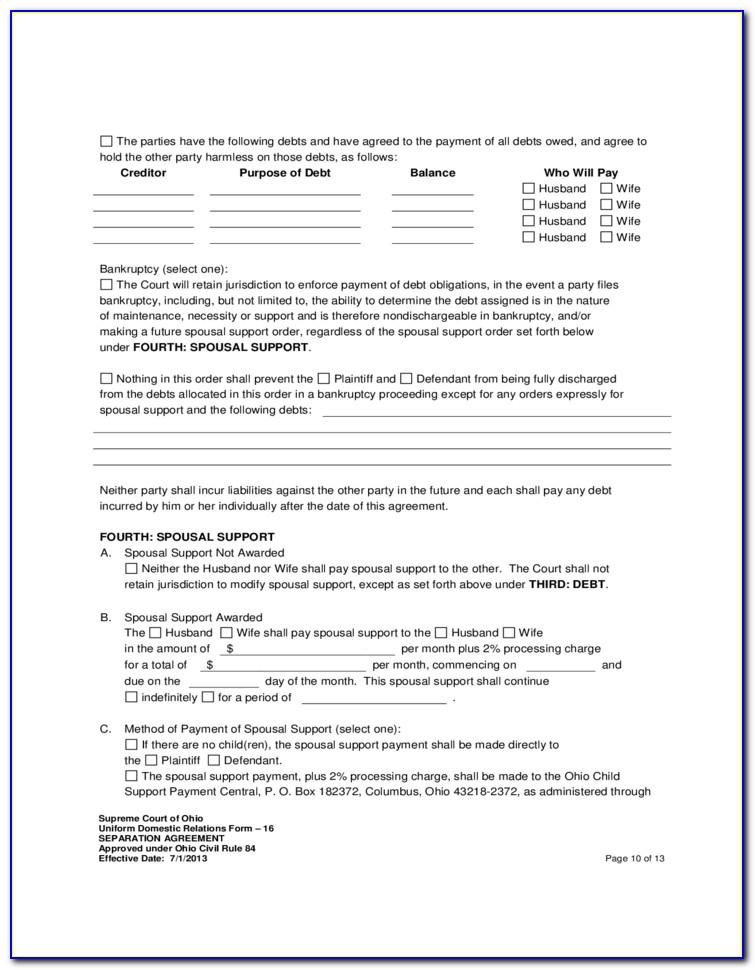 Employment Separation Agreement Form Ohio