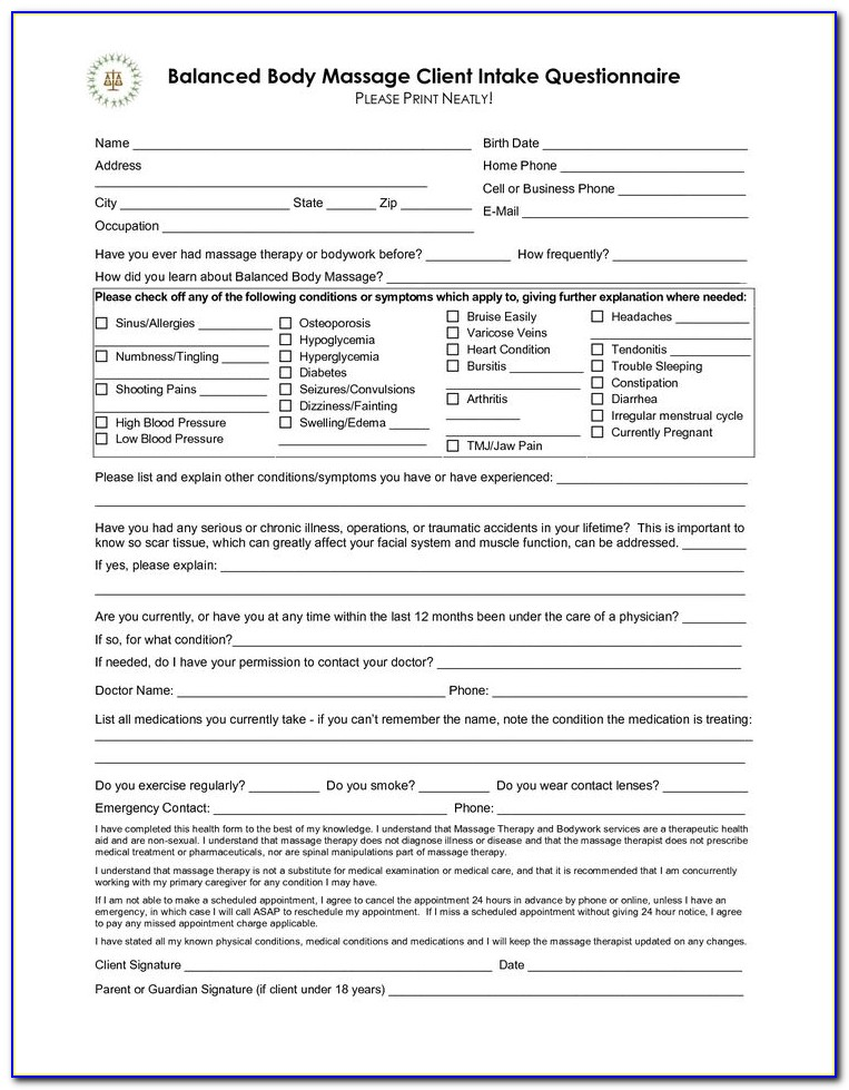 Esthetician Client Intake Form Template