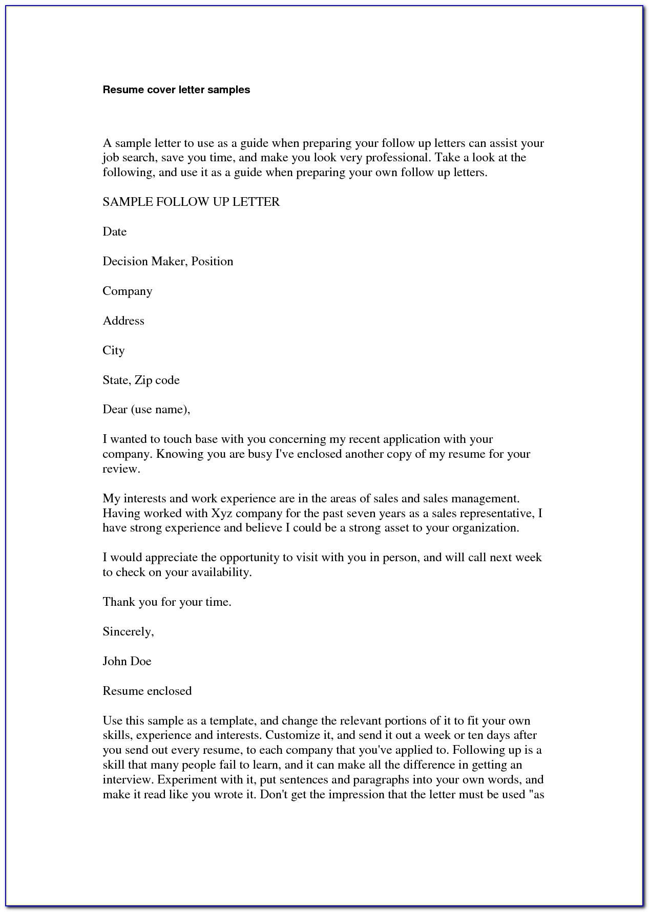 Example Of Cover Letters For Resume