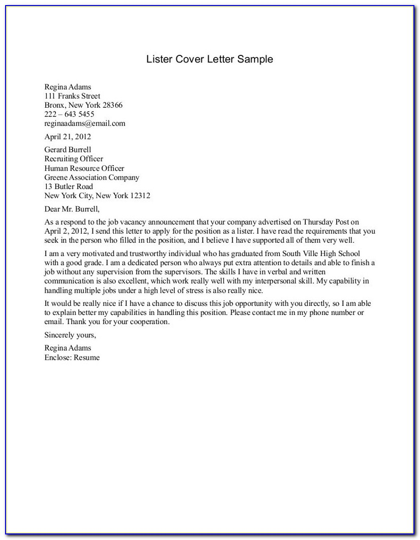 Example Resume And Cover Letters
