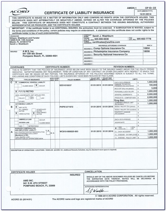 Fillable Acord 25 Form 2016