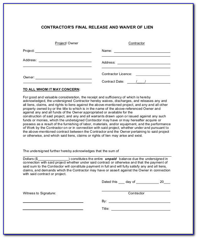 Final Lien Waiver Form Missouri