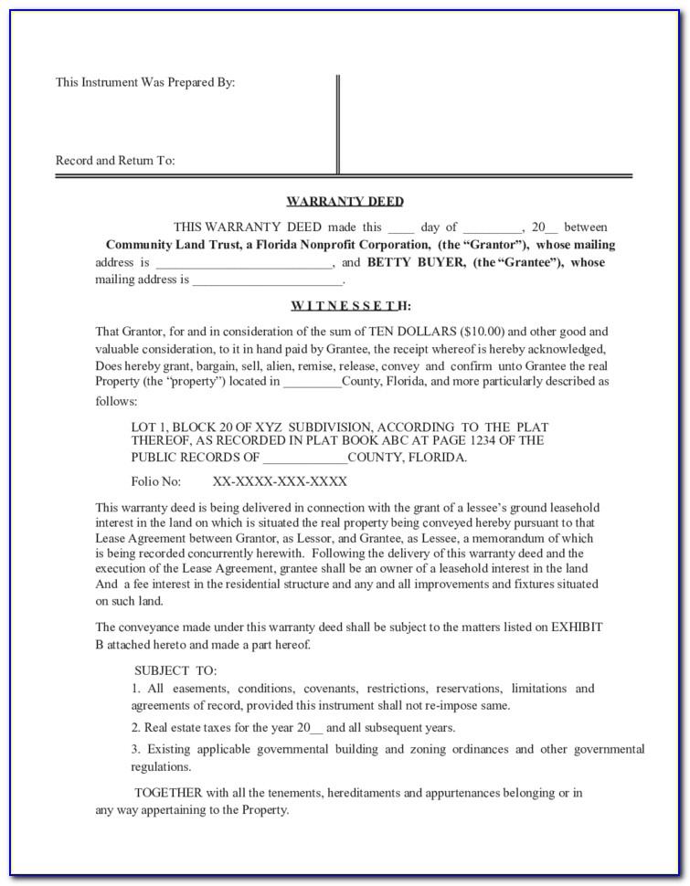 Florida Limited Warranty Deed Form