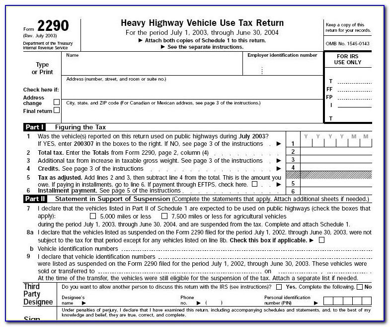 Form 2290 Filing Address