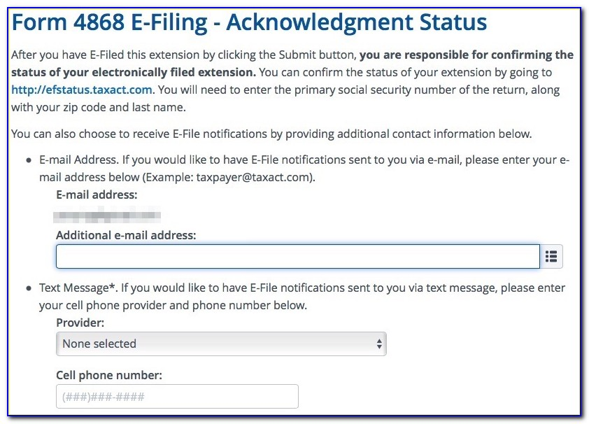 Form 4868 E File Tax Extension