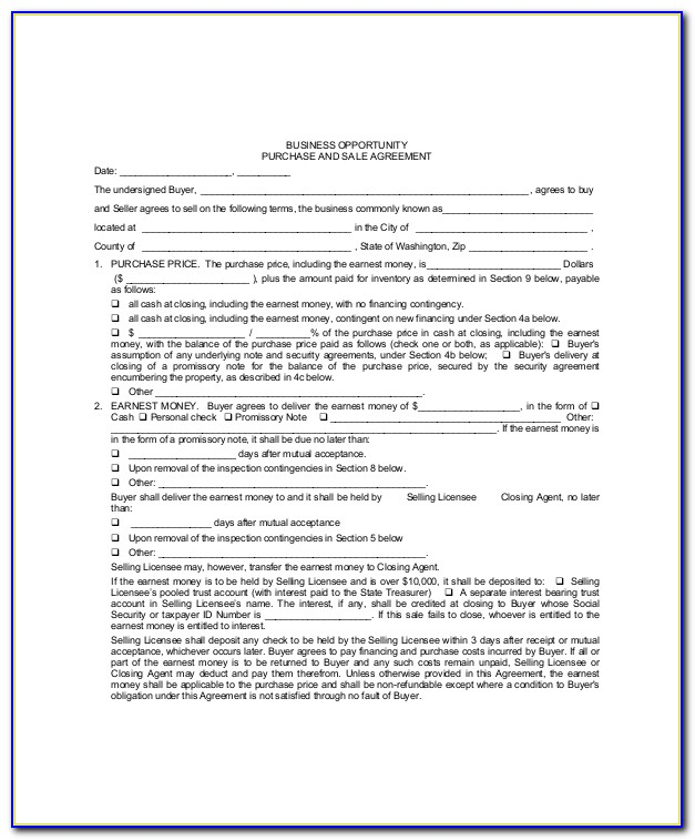 Free Blank Real Estate Purchase Agreement Form