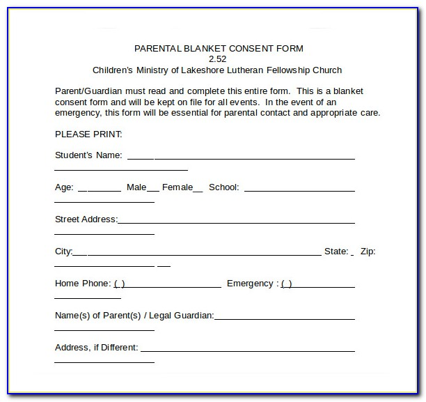 Free Child Care Medical Consent Form