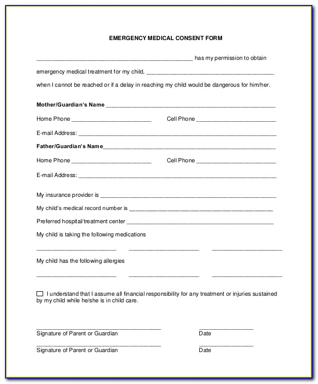 Free Child Medical Consent Form Ohio