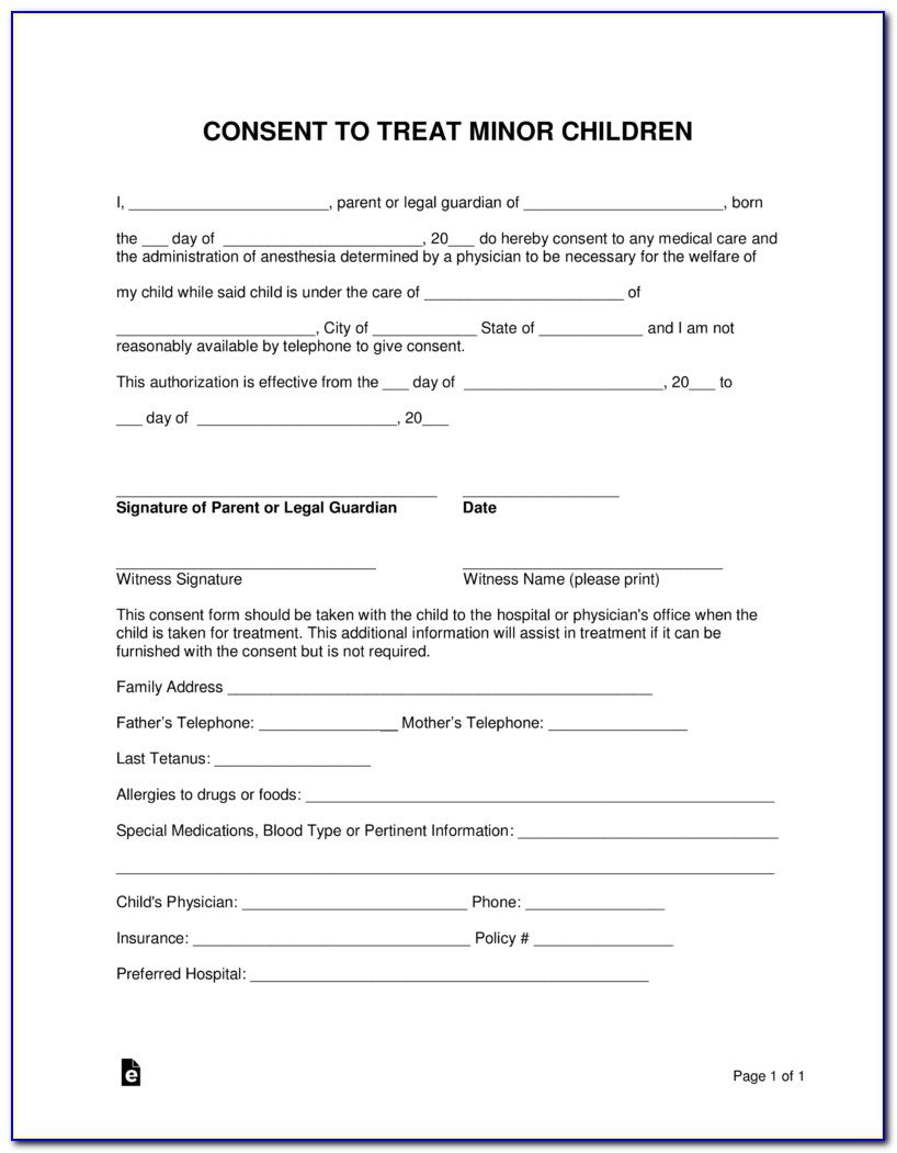 Free Child Medical Consent Form Pdf