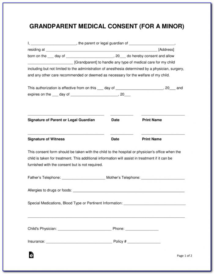 Free Child Travel Medical Consent Form