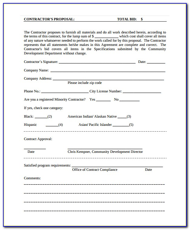 Free Contractor Proposal Form