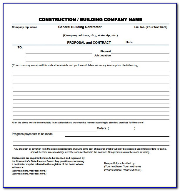 Free Contractor Proposal Forms Pdf