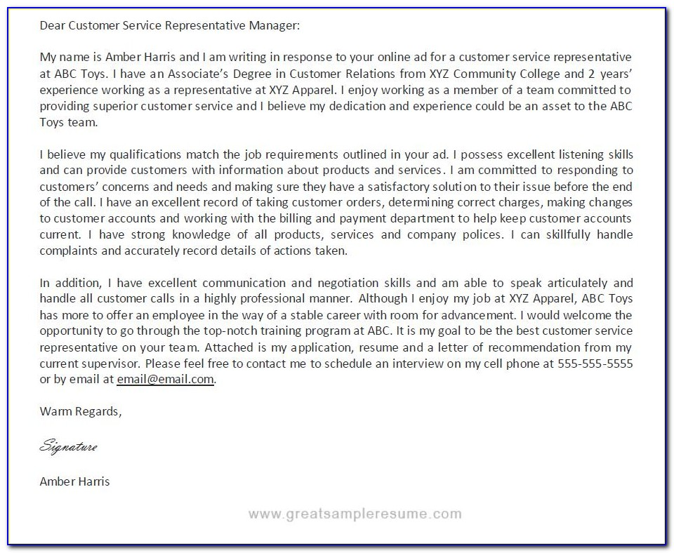 Free Cover Letter Examples For Customer Service Representative