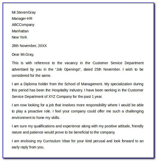 Free Cover Letter Samples For Customer Service Representative