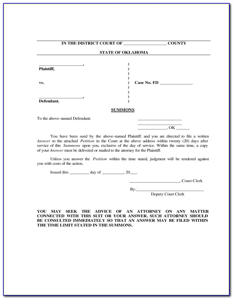 Free Divorce Decree Forms Oklahoma