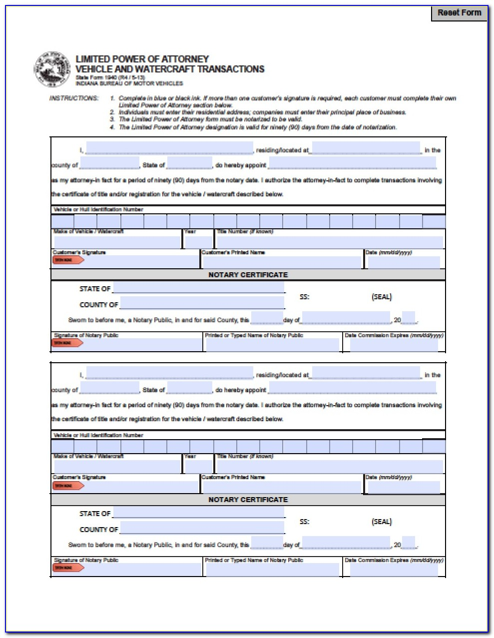 Free Durable Power Of Attorney Form Indiana