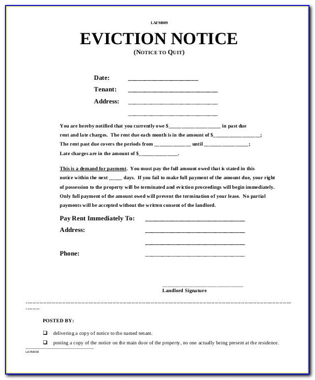 Notice Of Eviction Form Texas