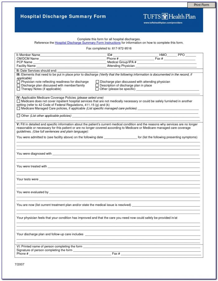 Hospital Discharge Form Template Pdf Form Resume