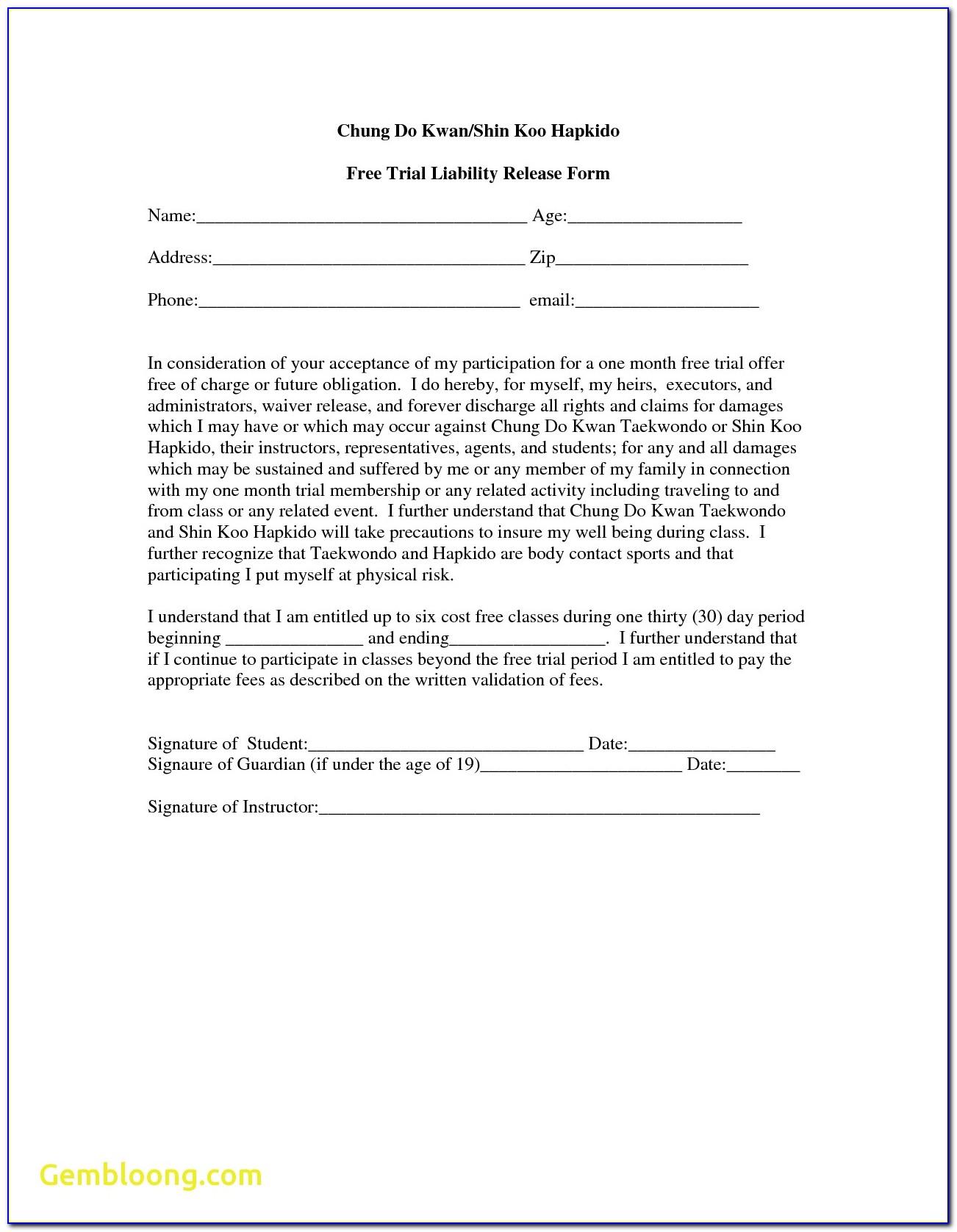 Free Liability Waiver Form Australia
