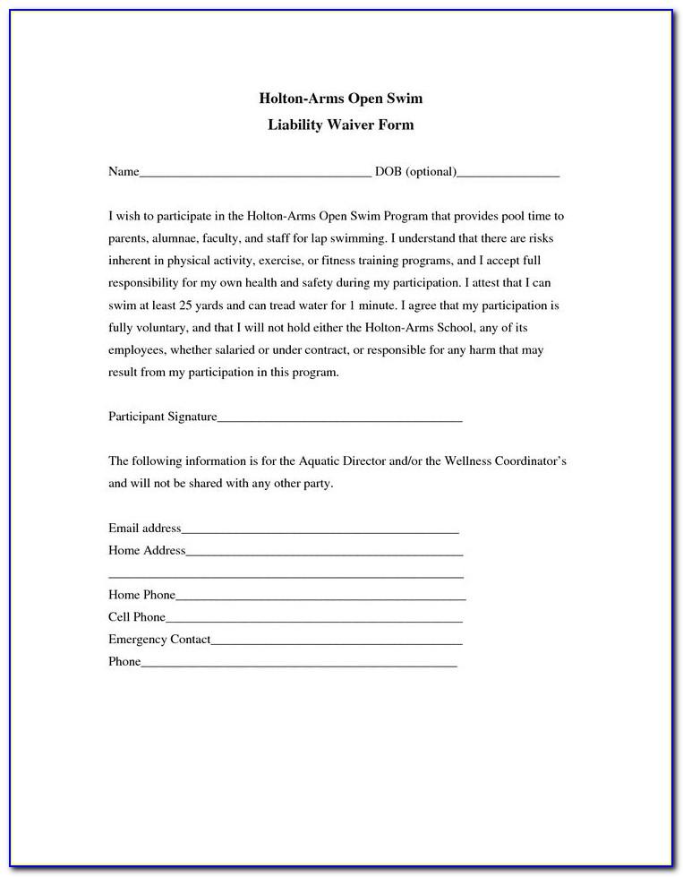Free Liability Waiver Form Pdf