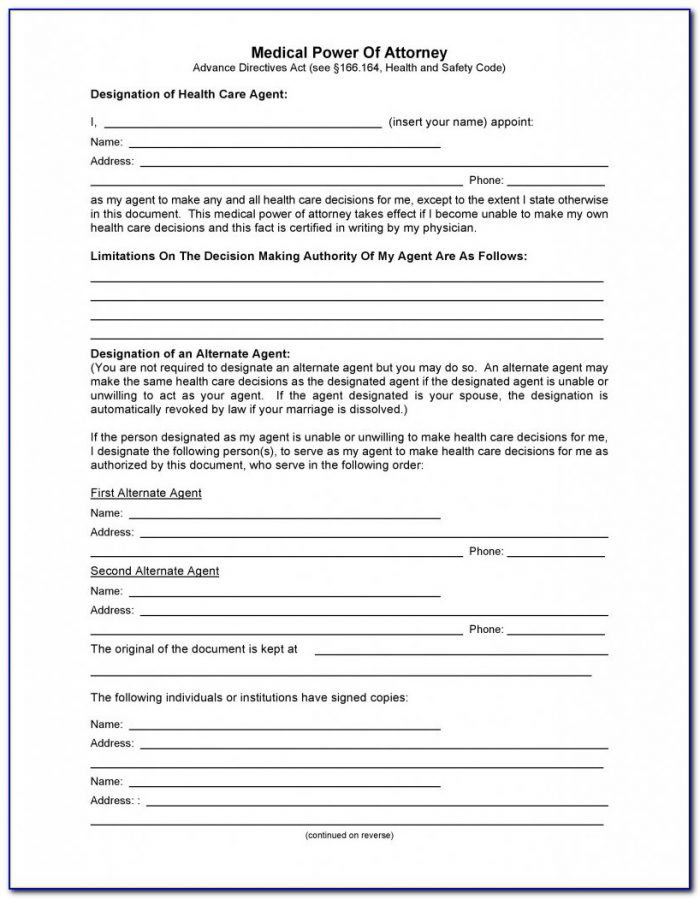 Free Limited Power Of Attorney Form California