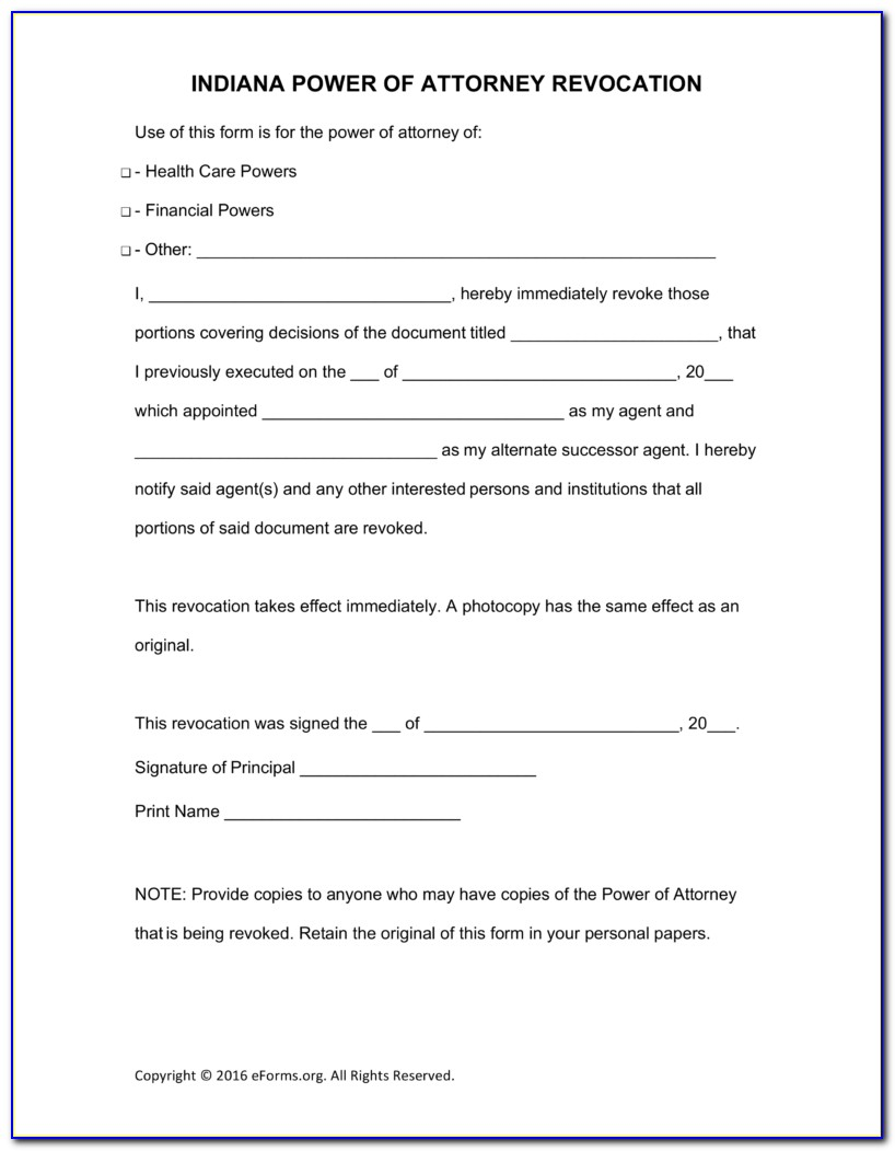 Free Medical Power Of Attorney Form Indiana
