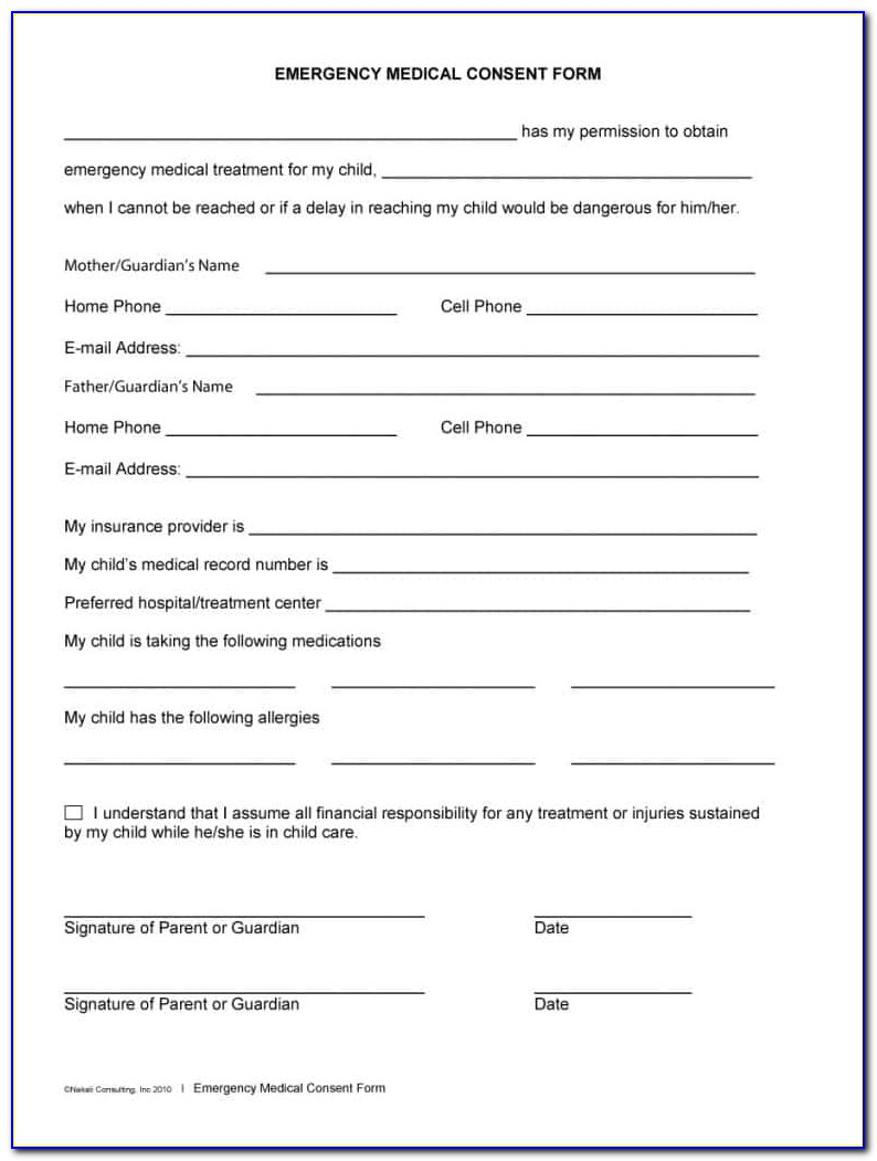 Free Medical Release Form For Grandparents
