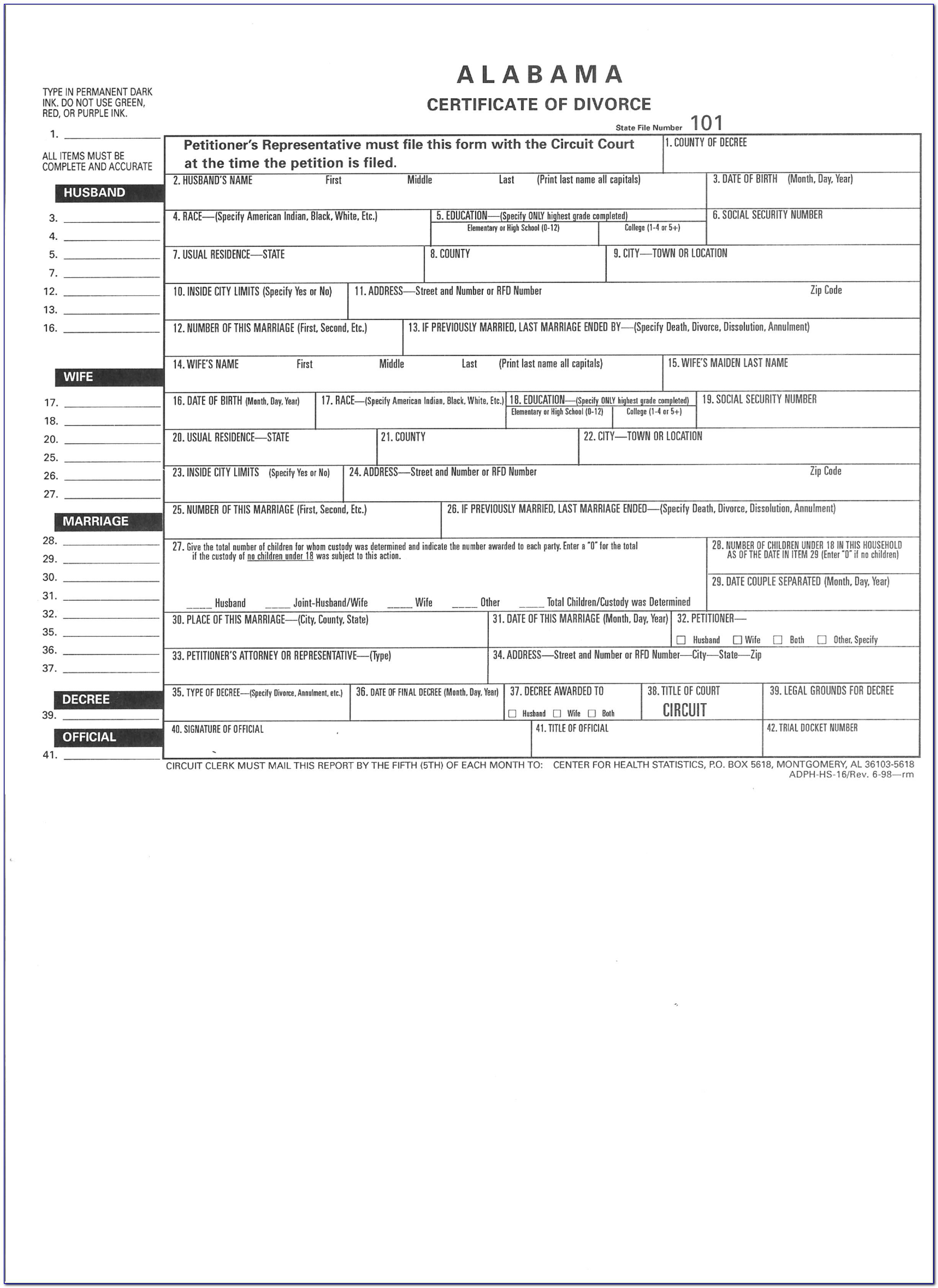 Free No Fault Divorce Forms Alabama