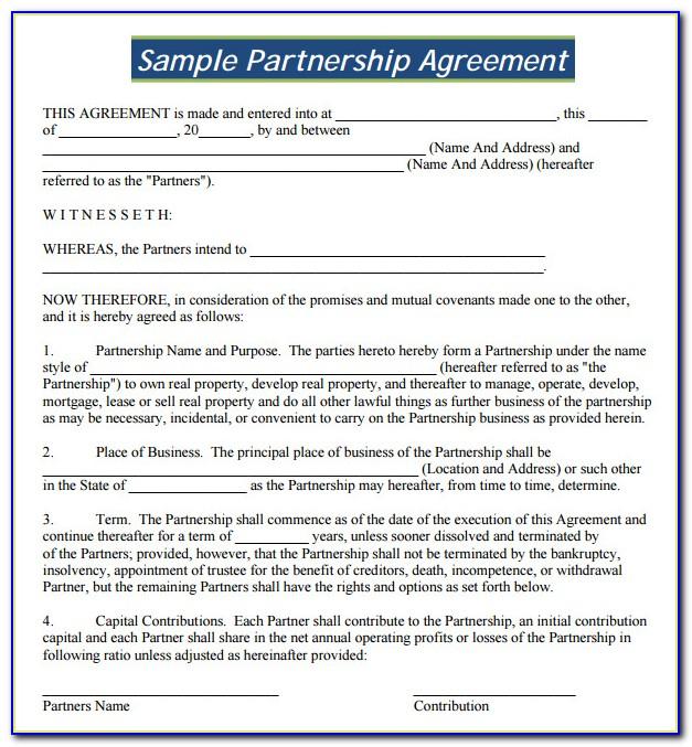 Free Partnership Agreement Form Nz