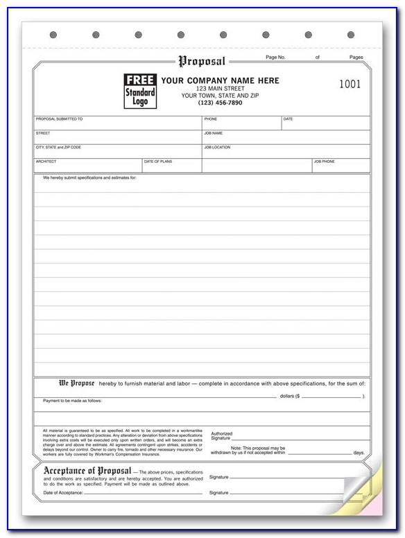 Free Printable Bid Proposal Forms
